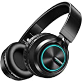 Picun Wireless Headphones [Up to 25 Hrs] Over Ear with Cool & Romantic LED Light, HiFi Stereo Folding Bluetooth 5.0 Headphones with HD Mic, Snug Earmuffs, TF Slot & Wired Mode for PC Cellphone (Black)