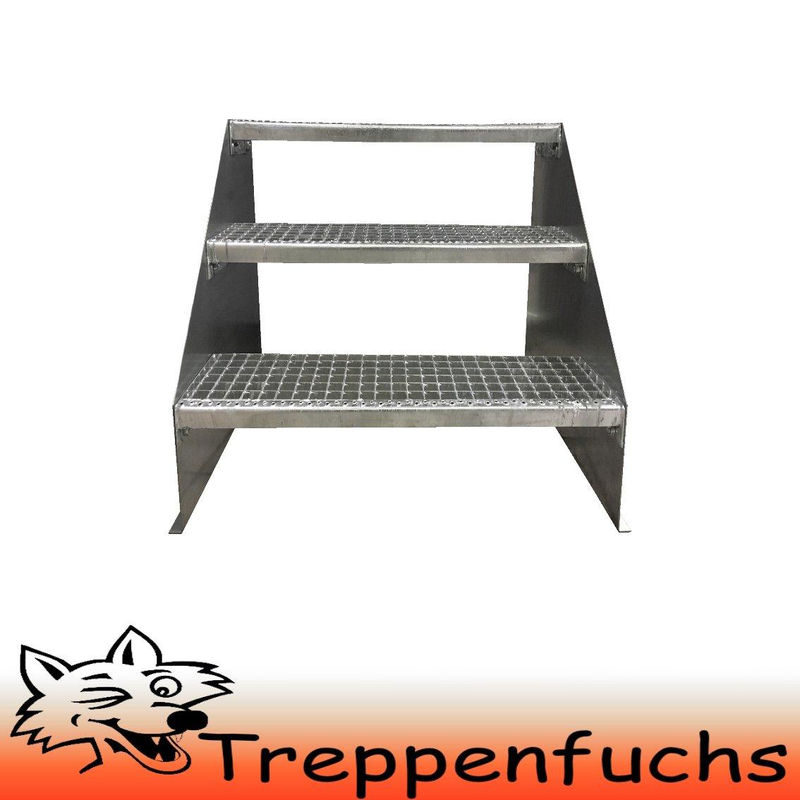 3 Stufen Standtreppe Stahltreppe freistehend Breite 90cm H/öhe 63cm Verzinkt// Robuste Au/ßentreppe Stabile Industrietreppe f/ür den Au/ßenbereich