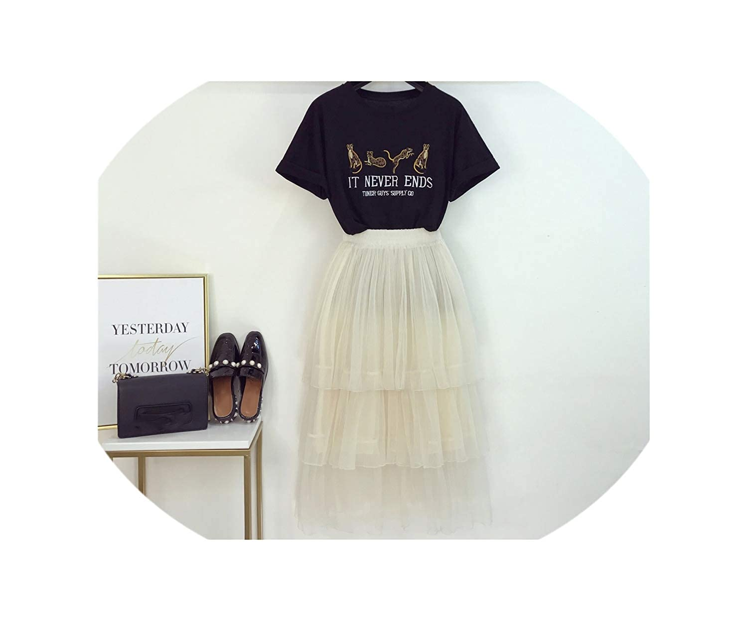 Black enjoypeak Summer Long Dress Women New Embroidery Little Leopard TShirt + Mesh Cake Skirt Playful