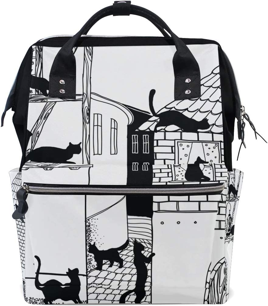 Women Casual Backpack City Street Cat Bag Wide Open Work Doctor Style Daypack Canva
