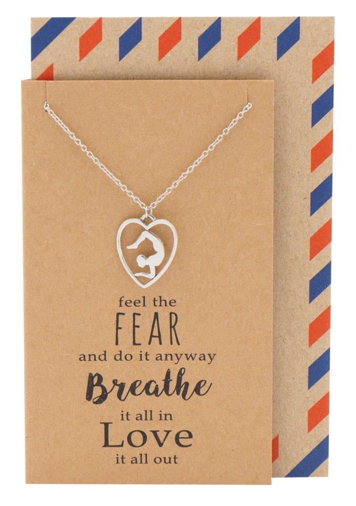 Quan Jewelry Vrischika Asana Scorpion Pose Yoga Meditation Pendant Necklace, Yoga Lovers Gift with Greeting Card