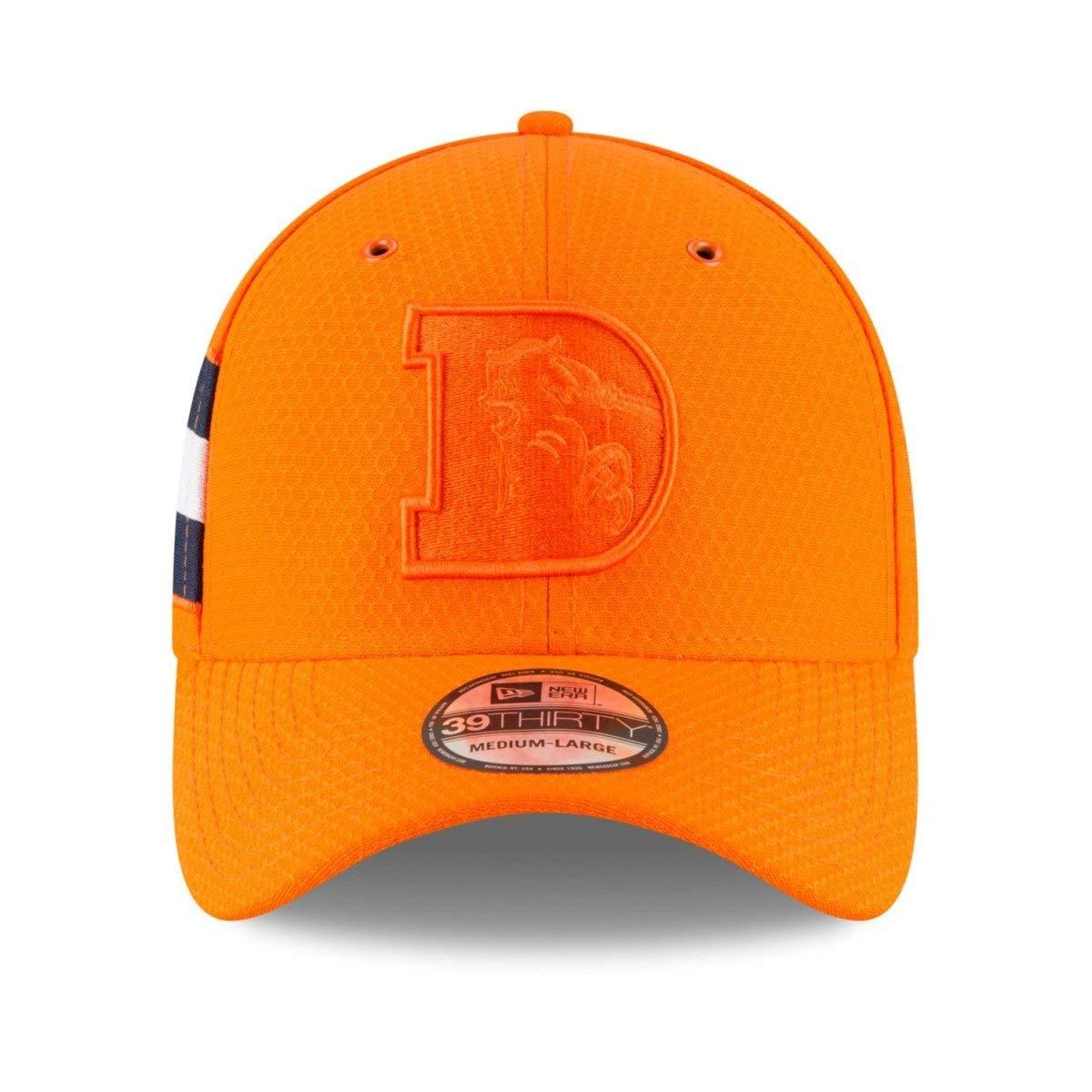 New Era Mens Orange Denver Broncos NFL Sideline Color Rush Official 39THIRTY Flex Hat