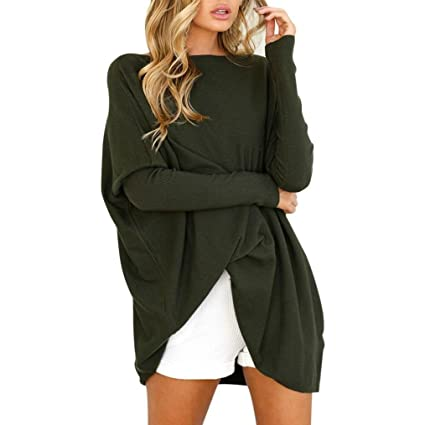 Sinma Hot Sales Women Casual Blouse Long Sleeve O-Neck Long Loose Solid Tops T-Shirt (S, Army Green)