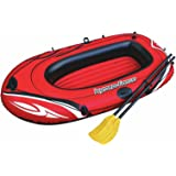 """Hydro Force Inflatable Rubber Vinyl Dinghy Boat 1 Person Pool Raft Paddle Oars Set Easy Transport and Storage 62""""x40"""" – Red"""