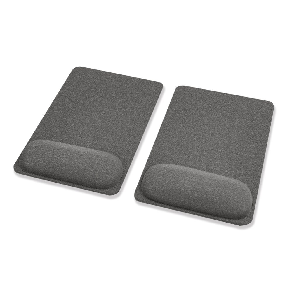 SenseAGE (2PCS/ Set) Pain Relief Comfy Mouse Pad, Wrist Rest, Ergonomic, Comfortable Typing for Home, Travel and Office, with Non-Slide PU Base Mouse Mat, Black - Dark Gray x 2pcs