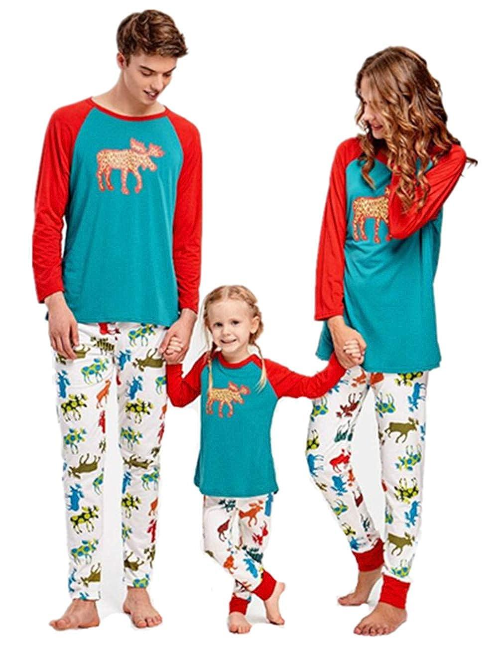Happyjiu Christmas Elk Family Matching Pajamas Set Holiday Sleepwear Sets