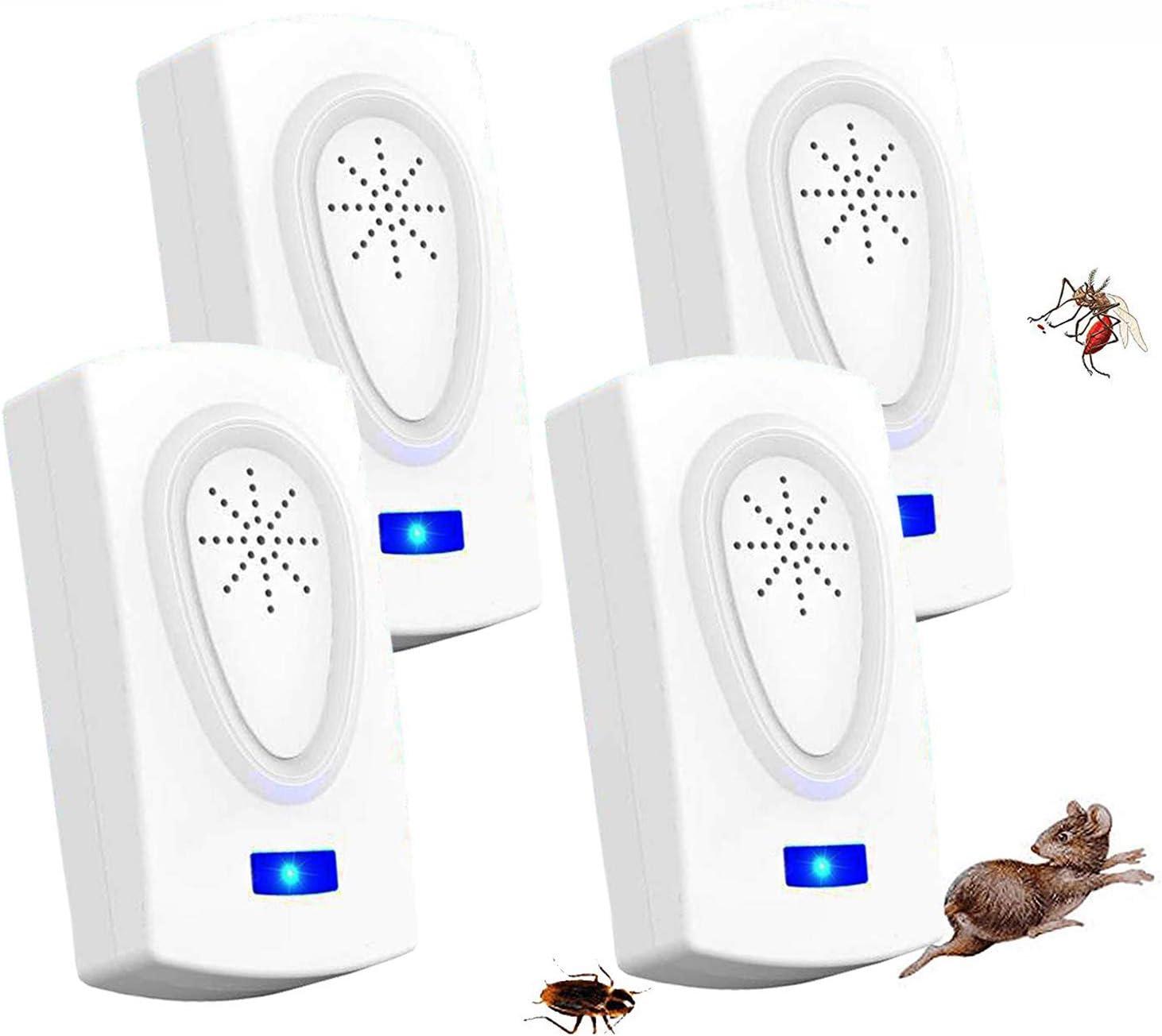 ZHENROG Antimosquitos,Repelente Ultrasonico,2020 Repelente Ultrasónico de Control de Plagas,Anti Cucarachas, Moscas, Mosquitos, Ratones, Arañas,100% Inofensivo para Mascotas y Humanos(4-Packs)