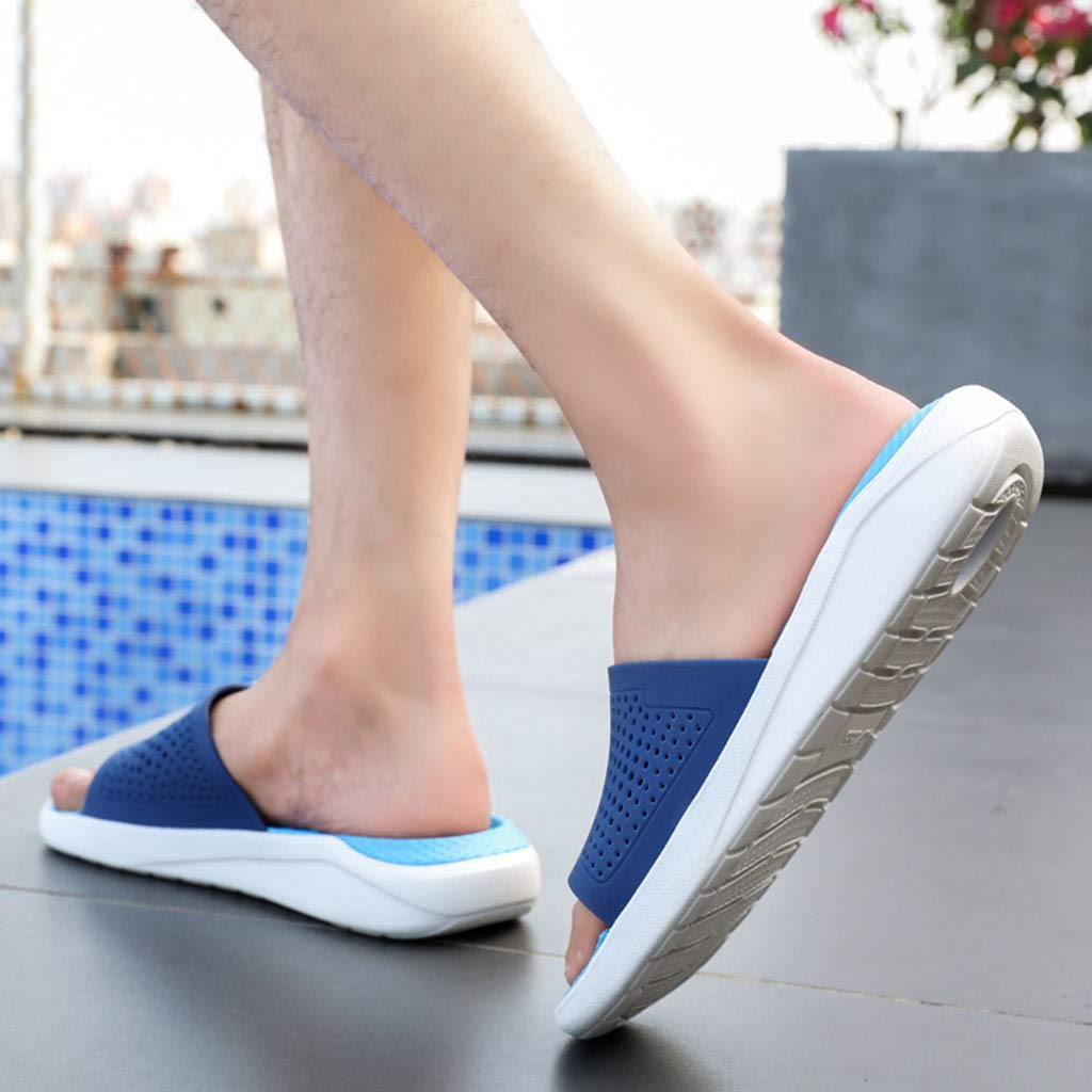 Corriee Slippers for Men Hollow Out Breathable Flats Shoes Mens Casual Beach Sandals Summer Indoor Outdoor Flip Flops