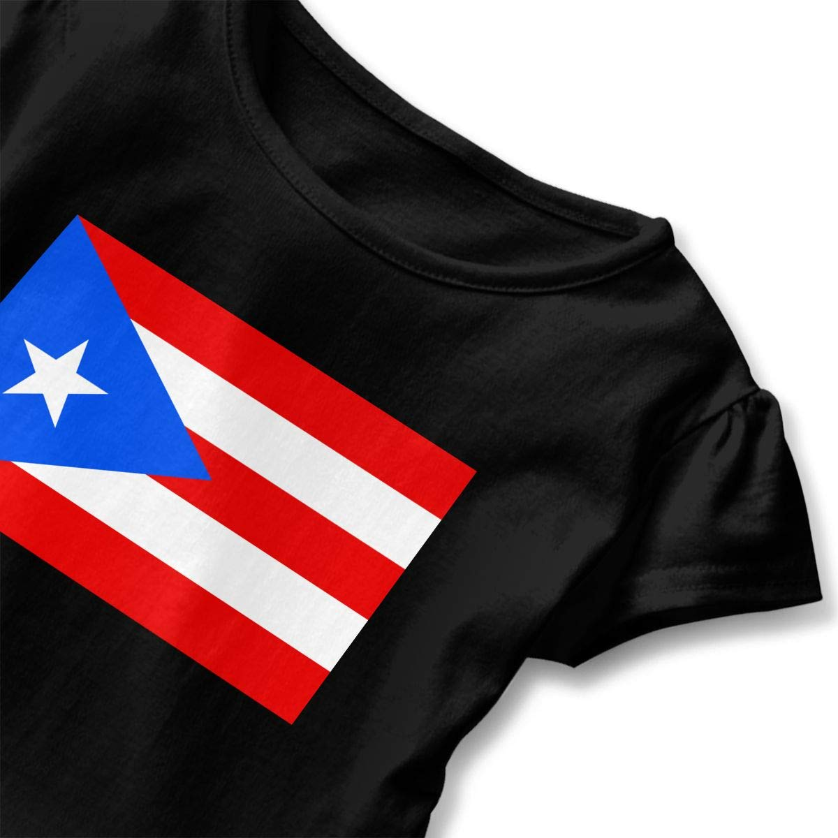 Flag of Puerto Rico Childrens Girls Short Sleeve Ruffles Shirt Tee Jersey for 2-6T