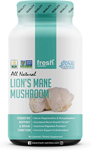 Organic Lions Mane Mushroom Capsules – Strongest DNA Verified Formula – Rich in Alpha Glucan – Powerful Superfood Supplement – Brain, Nerve Immune System Benefits – Vegan Friendly