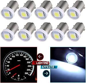 cciyu 10X BA9S LED SMD 1895 DASH INSTRUMENT PANEL CLUSTER Ash Tray Light Bulbs 1815 1816 182 1889 1891 1892 Replacement fit for Instrument panel Glove box License plate Boat cabin lamp Blue (white)