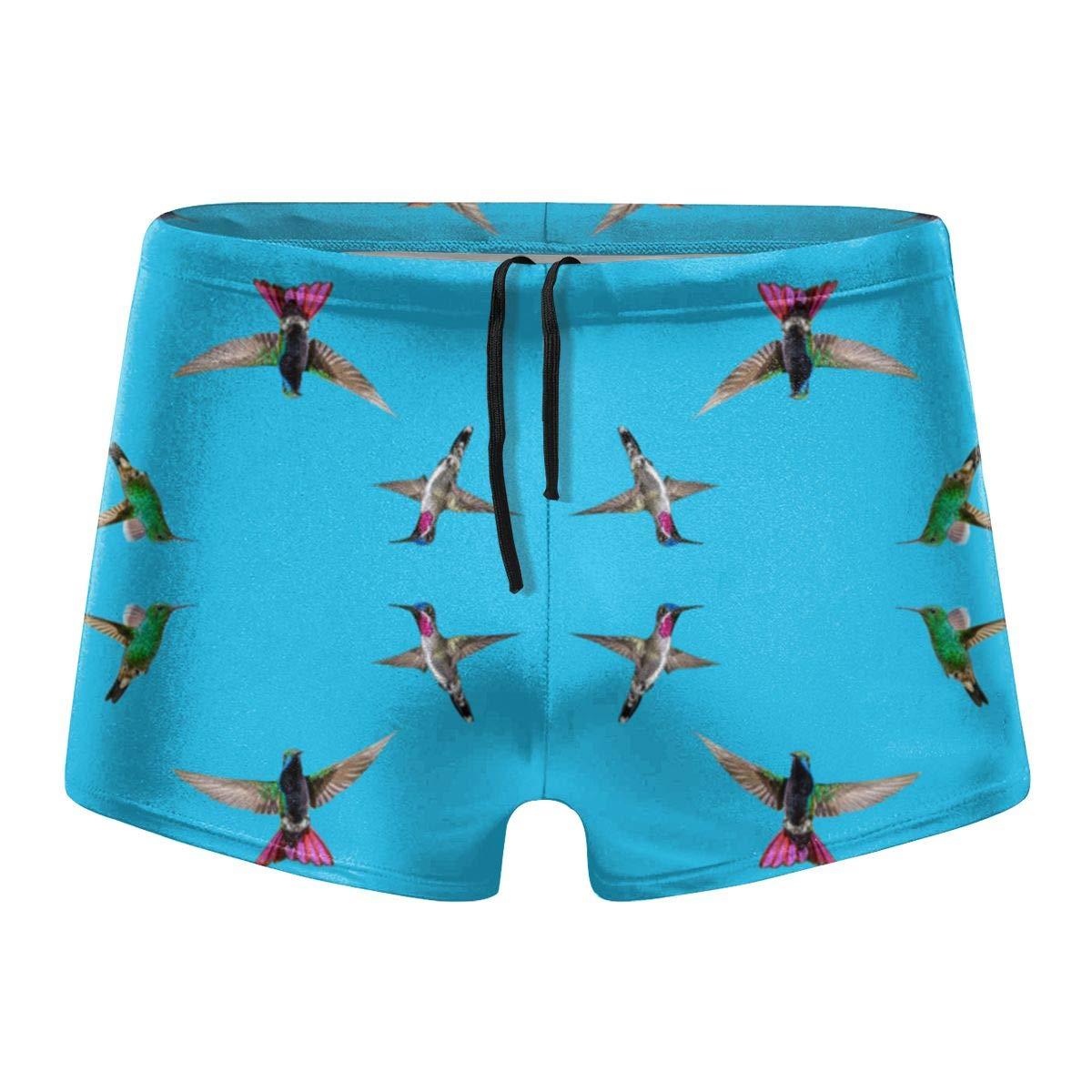 349tg1u Hummingbirds of T and T Tobago Blue Giftwrap Mens Swim Trunks Shorts Athletic Swimwear Briefs Boardshorts