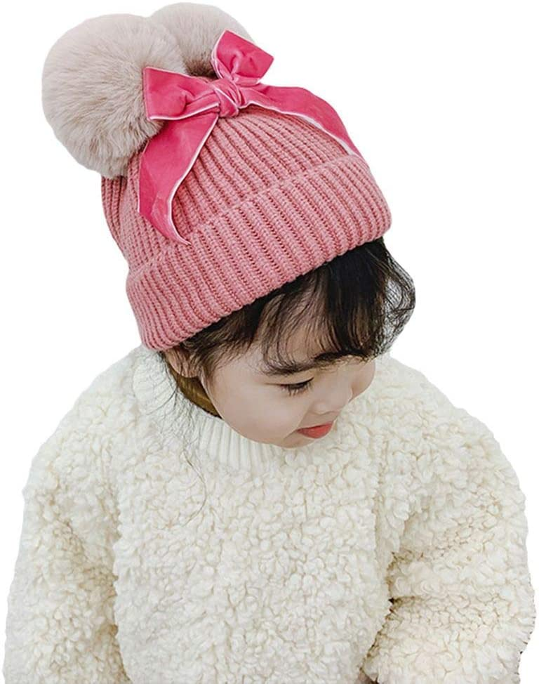YiyiLai Pom Pom Knit Thick Bowknot Ball Beanies Warm Cute Hat Cap for Toddler Baby Caramel