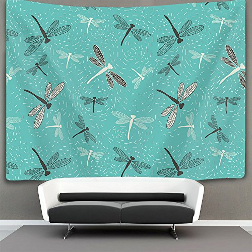AMERICAN TANG floral dragonfly green Wall Tapestry Hippie Art Tapestry Wall Hanging Home Decor Extra large tablecloths 40x60 inches For Bedroom Living Room Dorm (Pink Dragonfly Dreams)