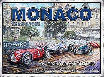 Mónaco Grand Prix 1956. Coche Motor, Carreras Deporte, vintage, antigua para el hogar, vertiente, habitación del ...