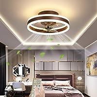 Ø40CM Plafondventilator met verlichting en Afstandsbediening, LED 24W Dimmen Modern Plafondlicht, Dempen…
