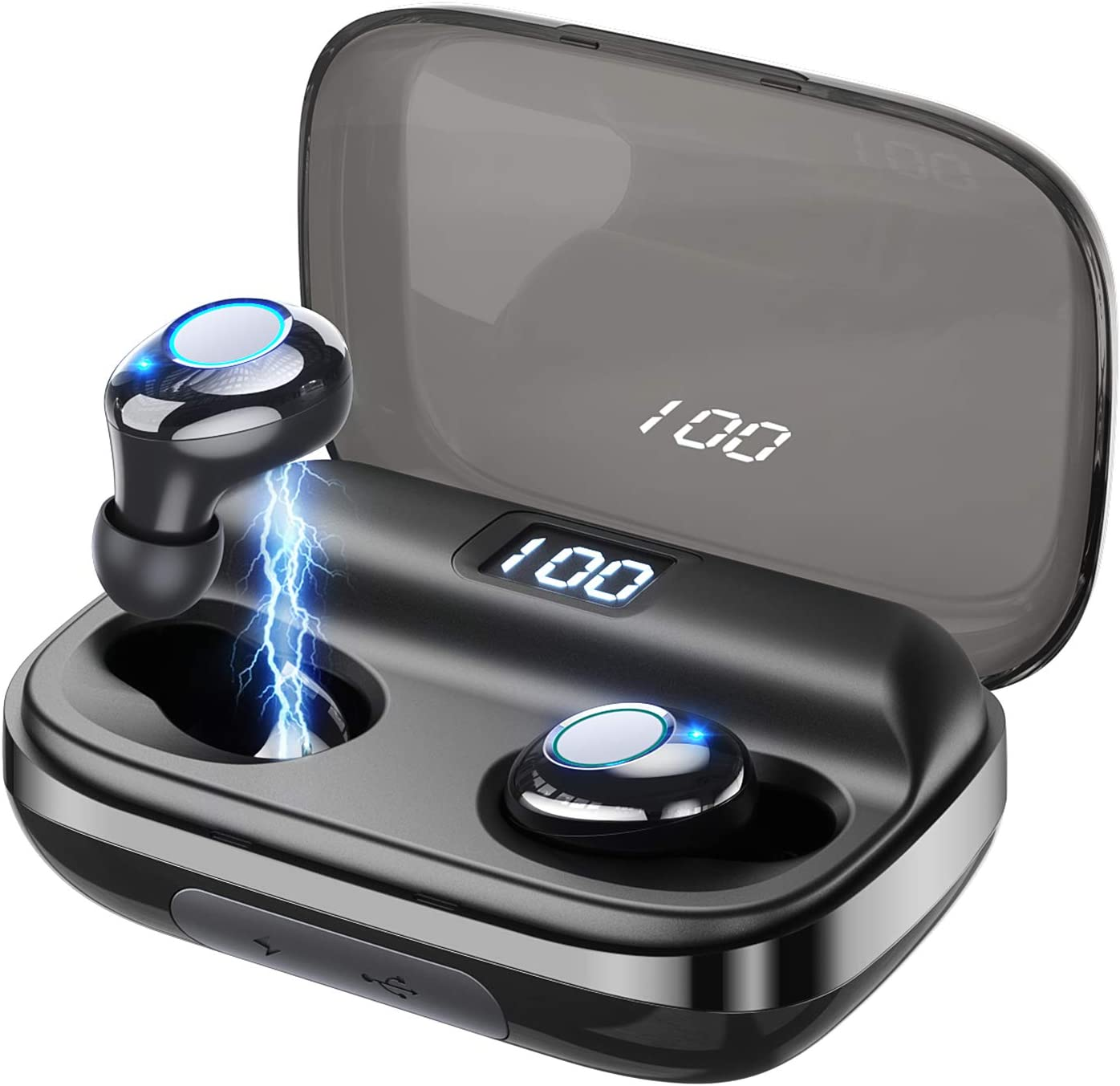 chrome GUSGU wireless earbuds in their charging case