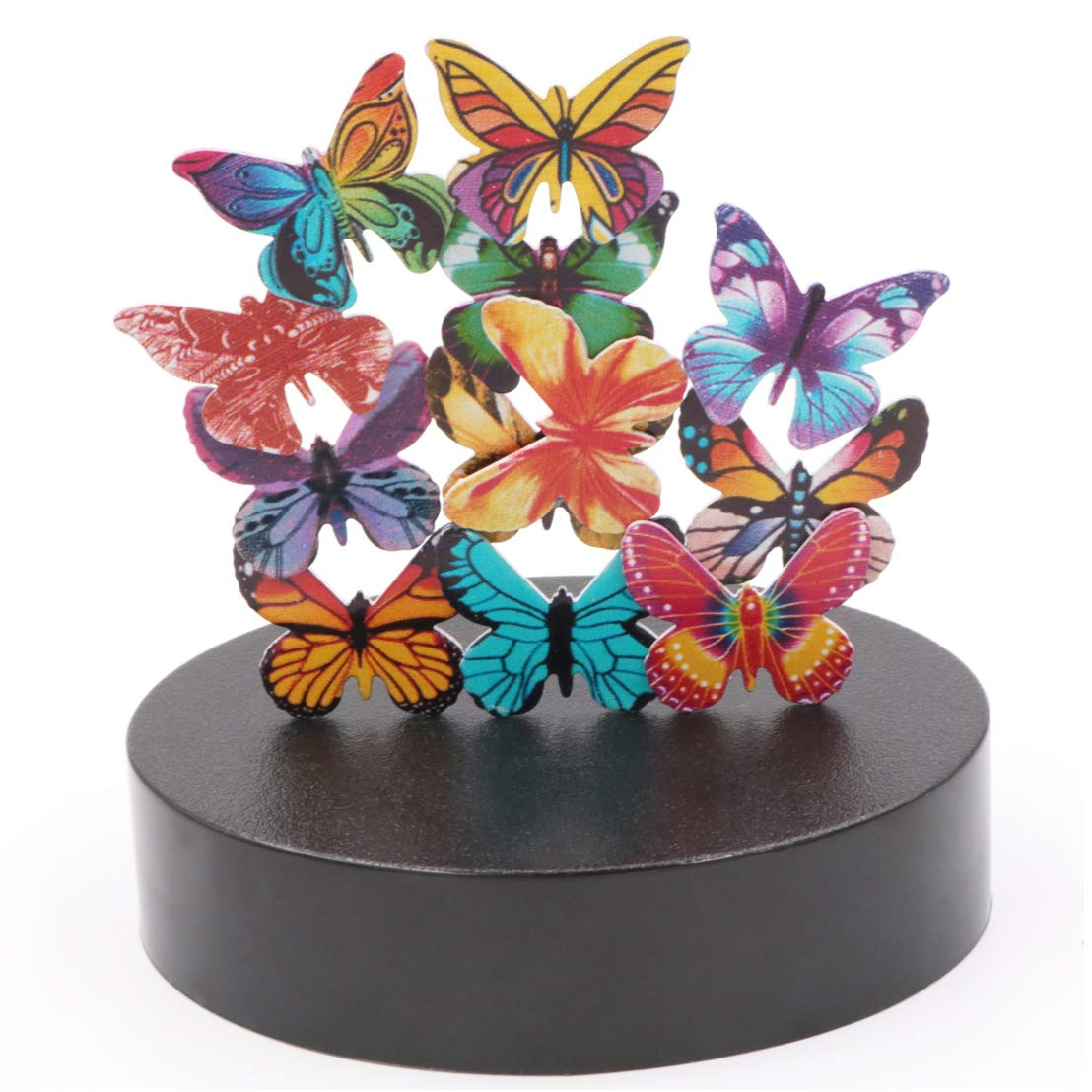 JxyzyxJ Magnetic Sculpture Desk Toy Office Decor Stress Reliever Stocking Stuffer - A Magnetic Base and 12 Butterflies
