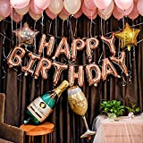 DIvine Birthday Party Decorations Set - Rose Gold Happy Birthday Balloon Kit Banner 100pcs Latex Balloons Champagne Bottle Goblet Stars with Extra Gold Ribbon