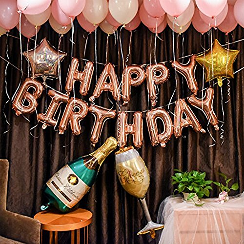 DIvine Birthday Party Decorations Set - Rose Gold Happy Birthday Balloon Kit Banner 100pcs Latex Balloons Champagne Bottle Goblet Stars with Extra Gold (18' Happy Birthday Foil Balloon)