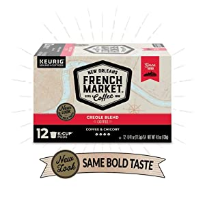 French Market Coffee Single Serve Cups, Medium-Dark Roast With Chicory, 12 count (6 Pack)