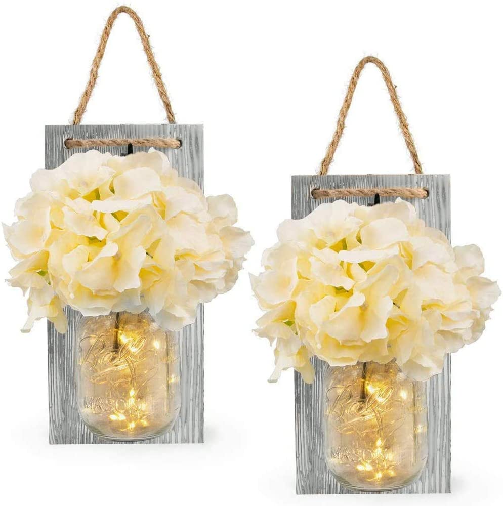 Vinkki Rustic Mason Jar Sconces for Home Decor Silk Hydrangea Flower Light Wall Decor with 2 Meters 20 LED Strip Lights 6 Hours Timer Fairy Lights for Farmhouse Kitchen Decoration (Set of 2)