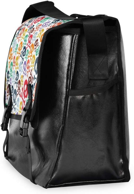 Laptop Computer Traveling Camping Casual Canvas Satchel Cute Skulls Colorful Cartoon Messenger Bag Shoulder Bag Happy for Men Women Student
