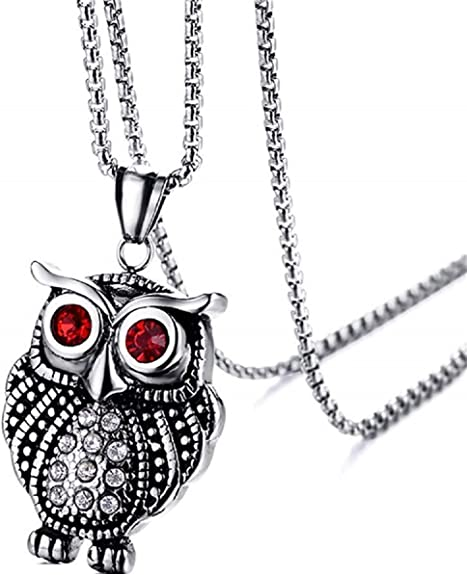Fashion Jewelry Stainless Steel Punk Style Owl Man/'s Fashion Necklace