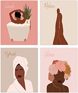 Designs by Maria Black Women Bathroom Wall Art - Unframed Artwork Decor for Home, Girls Bedroom, Living Room, Spa - Motivational African American Posters with Protective UV Coating - 8x10