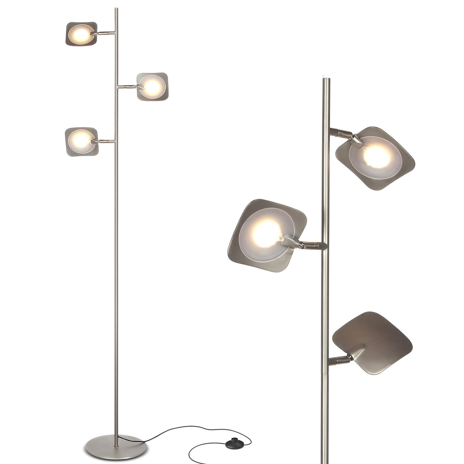 Brightech Tree Spotlight LED Floor Lamp - Very Bright Reading, Craft and Makeup 3 Light Standing Pole - Modern Dimmable & Adjustable Panels - Corner Lamp - Satin Nickel by Brightech