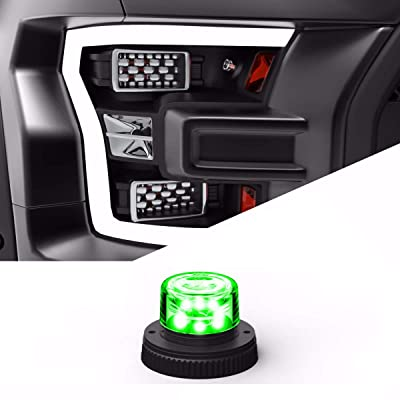 SpeedTech Lights 6 LED 18W Strobe Light for Police Cars, Construction Trucks, Service Vehicles, Plows, Emergency Vehicles. Surface Mount Grille Flashing Hazard Beacon Light - Green/Green: Automotive