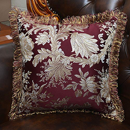 (Square Pillowcase for Sofa, Bed or Car, 18 x 18 Inches Soft Satin Claret Pillow Cover, Floral Pattern Tassels Pillowslip )