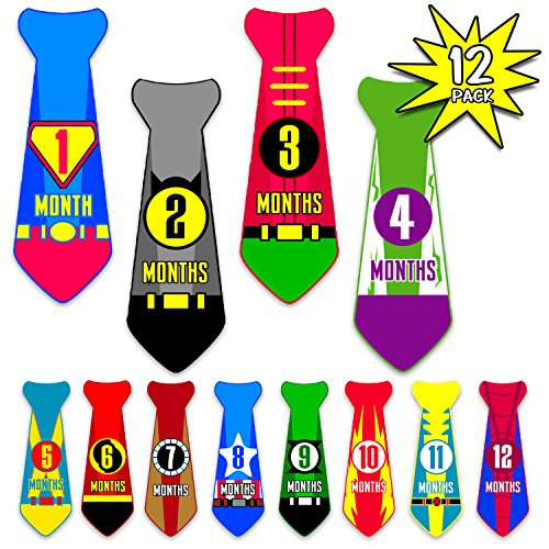 Month Stickers for Baby Boy | Super Hero Neck Tie | Use Photo Prop, Wall Decor or Shower Gift | First Year Growth Monthly Milestones Professional Decal Set for Onsies - Professional Decal Set