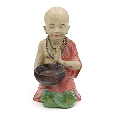 Buddha Groove Garden Monk Statue with Alms Bowl in Rustic Finish | 14 Inches Tall: Home & Kitchen