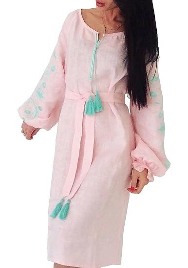 87533b01620 Ryabokon Factory Long Pastel Pink Embroidered Boho Dress Bohemian Style  Ukrainian Style Vyshyvanka (X-