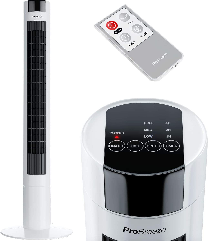 Pro Breeze Ventilador de Torre Oscilante 45W. con Temporizador y ...