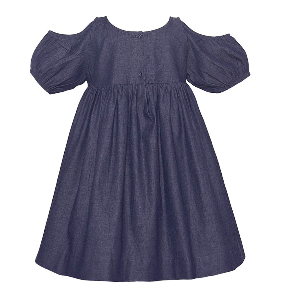 b0915b275630f Amazon.com  Lele for Kids Little Girls Navy Cold Shoulder Puff Sleeve  Gathered Dress 2T-6  Clothing