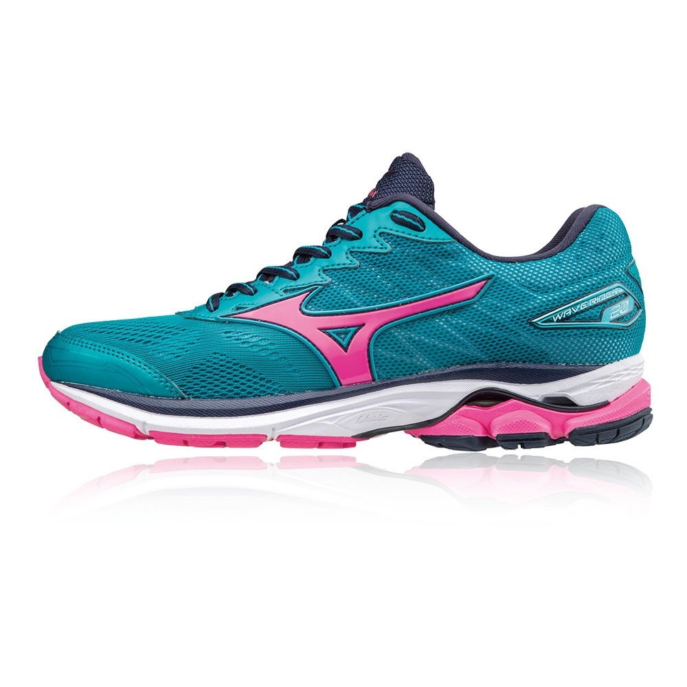 Amazon.com | Mizuno Wave Rider 20 Ladies Running Shoes, Color- Blue/Pink, US Shoe Size- 10 US / 7.5 UK | Road Running