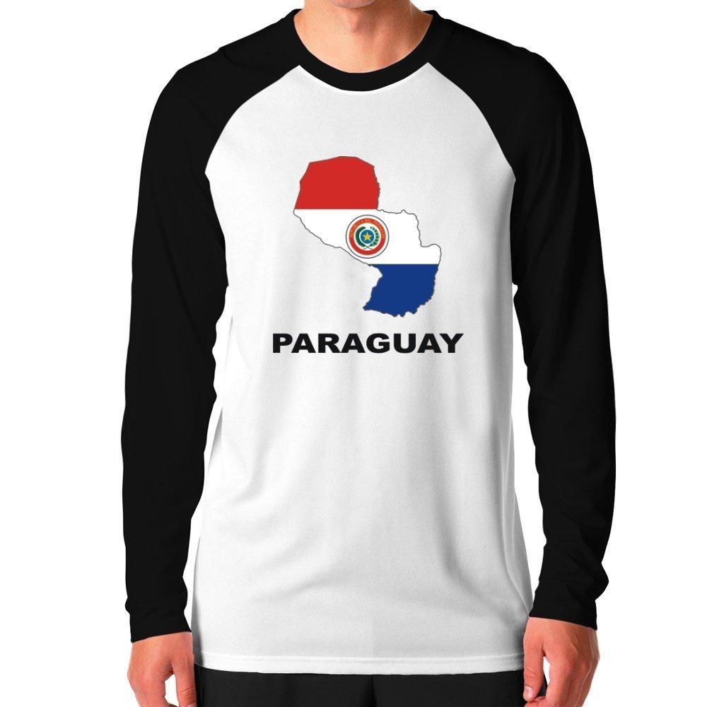 Teeburon Paraguay Country Map Color Camiseta de manga larga ...