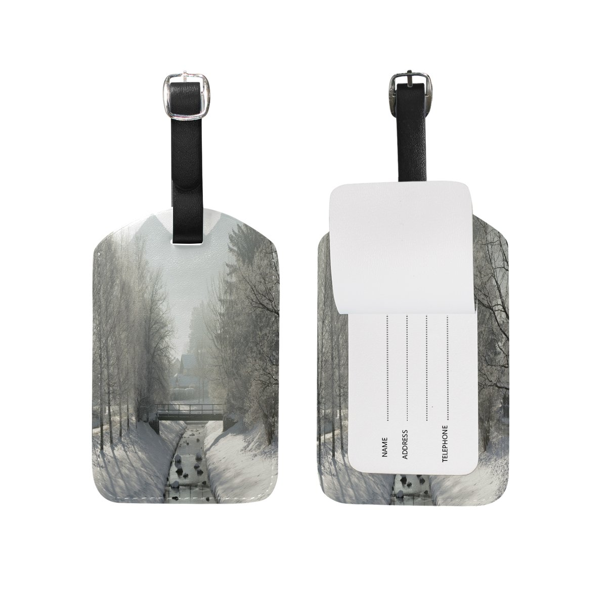 Saobao Travel Luggage Tag Landscape In White Time PU Leather Baggage Suitcase Travel ID Bag Tag 1Pcs