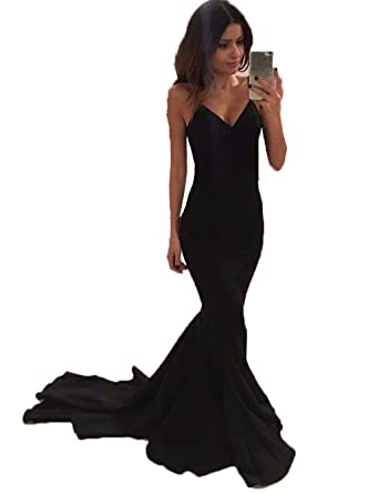 Promworld Womens Evening Party Gowns Spaghetti Strap Long Mermaid Prom Dress Black US2