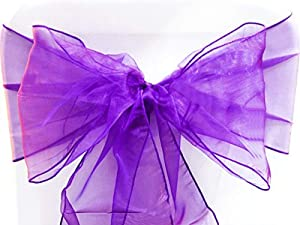 SF New Pack of 10 Chair Decorative Organza Sashes Bow Designed for Wedding Events Banquet Home Kitchen Decoration - (10, Purple)