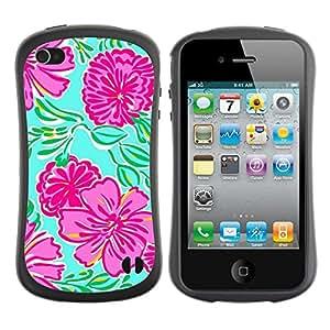 Fuerte Suave TPU GEL Caso Carcasa de Protección Funda para Apple Iphone 4 / 4S / Business Style Floral Art Spring Nature Green