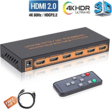 4K@60Hz HDMI Switch 5x1 Awakelion Premium 5 in 1 Out 4K HDMI Switch with IR Remote Support Auto-Switch HDCP 2.2,UHD,HDR,Full HD,3D,1080P