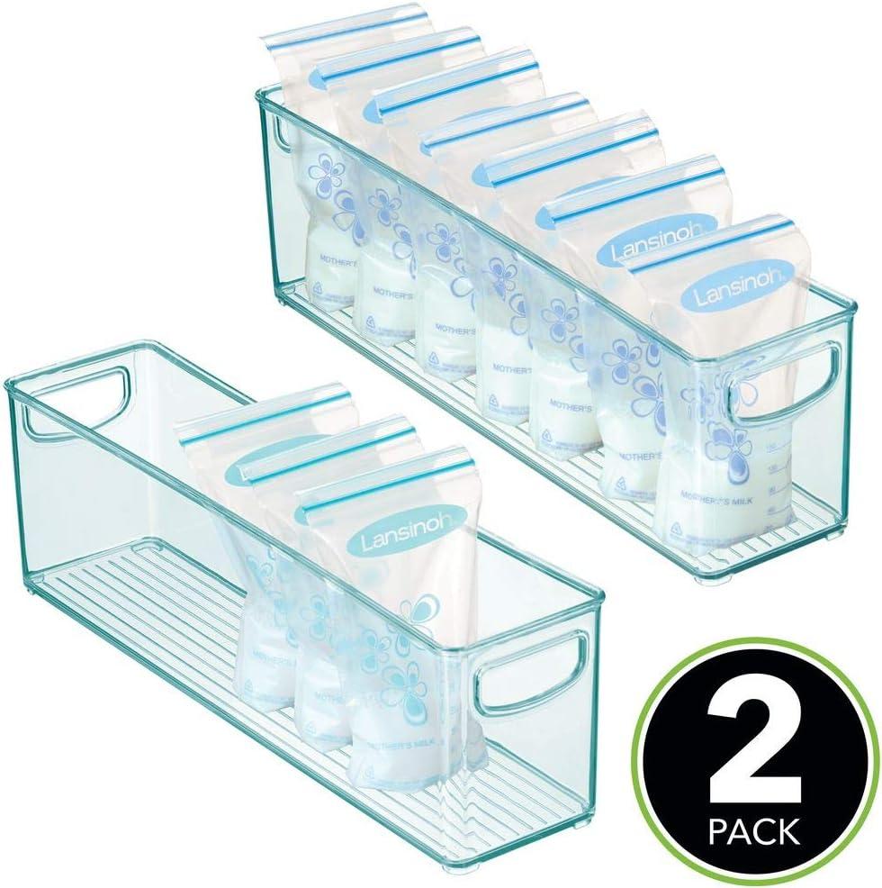 Pr/áctica Caja de almacenaje para Bolsas de Leche Materna Organizador de Cocina con Asas mDesign Juego de 2 cajones de pl/ástico sin BPA para Alimentos Infantiles Azul Claro