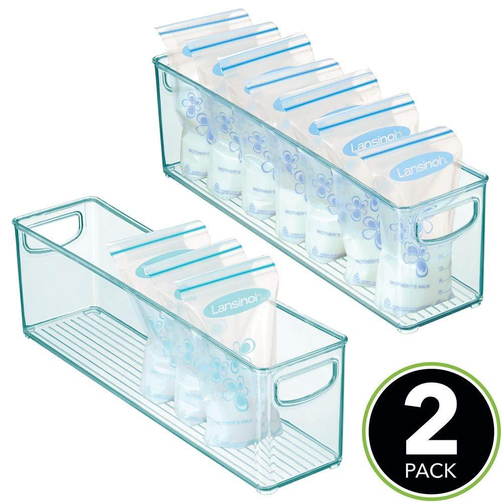 Organizador de Cocina con Asas Pr/áctica Caja de almacenaje para Bolsas de Leche Materna Azul Claro mDesign Cajones de pl/ástico sin BPA para Alimentos Infantiles