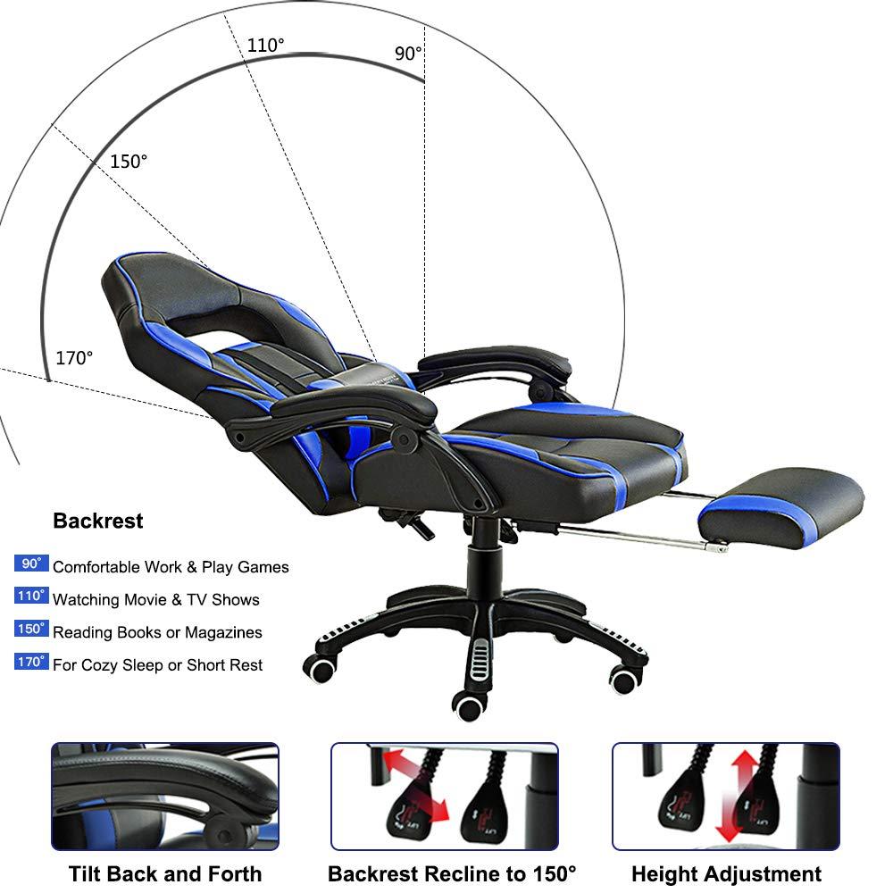 JL Comfurni - Silla de Piel para Videojuegos, giratoria, para Oficina, Escritorio, Altura Ajustable, reclinable ergonómico, con cojín Lumbar y reposapiés ...