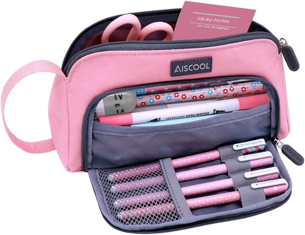 Aiscool Big Capacity Pencil Case Bag Pen Pouch Holder Large Storage Stationery Organizer for School Supplies Office College Teen (Pink)