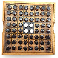 Brain Games Othello Reversi Wooden Game Small 4.33 Inches
