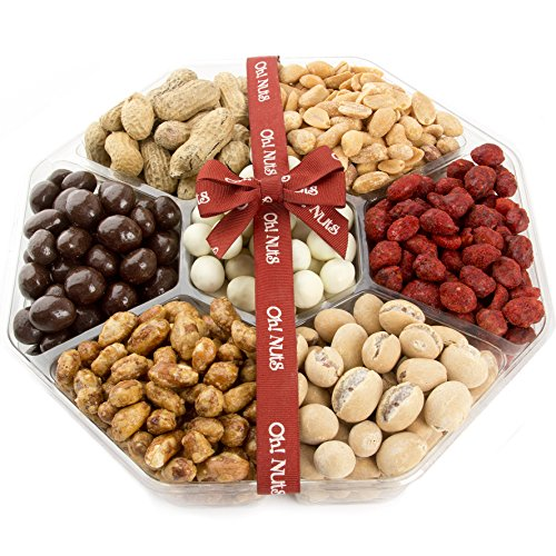 7 Variety Assortment Nuts Gift Tray, Beautiful Packaged Nuts in Gift Box, Awesome Flavored Peanuts Gift - Oh! Nuts